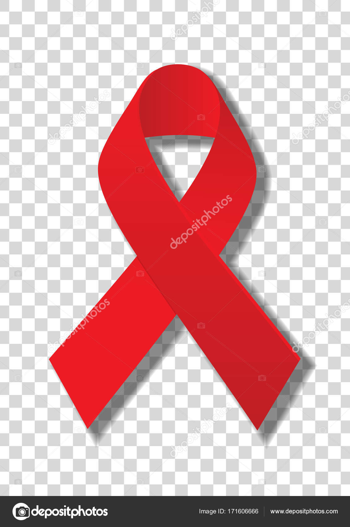 World Aids Day Symbol Realistic Red Ribbon Isolated On Transparent