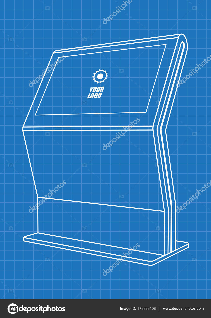 Blaupause des interaktiven Werbeinformationen Kiosk, Werbung ...