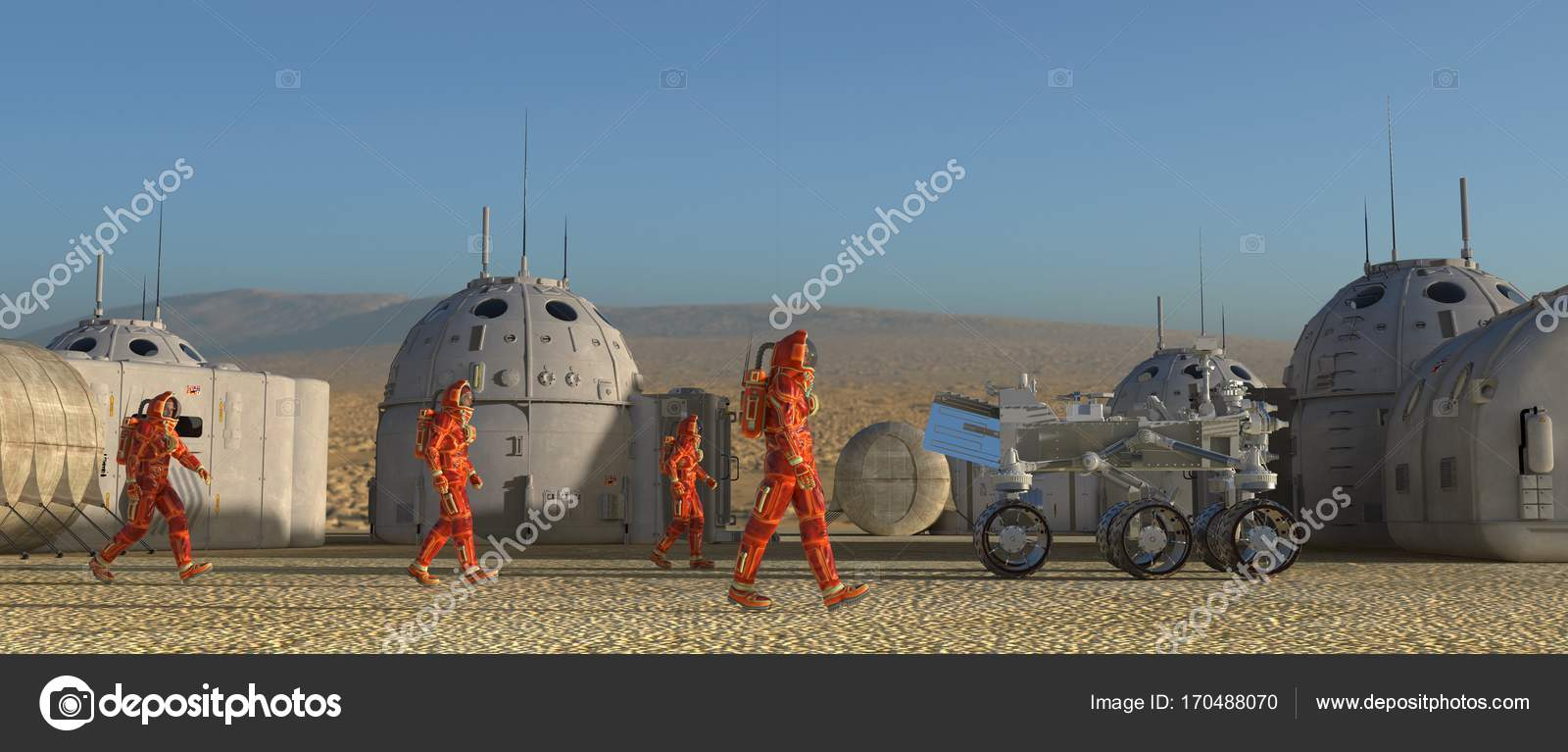 Mars colony  Expedition on alien planet  Life on Mars  3d