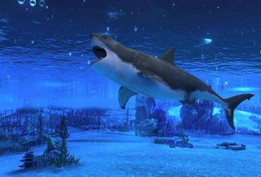 3D illustration great white shark swimming underwater