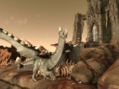 Fantasy Dragon és Dark Tower 3D illusztráció