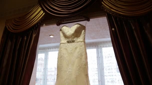 Wedding dress on window background