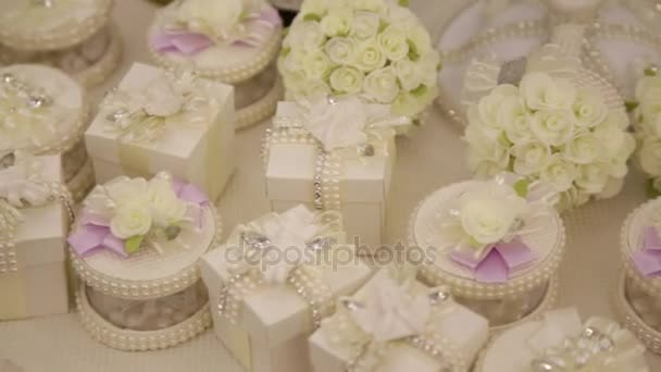 Gifts For The Guests At The Wedding Table Stock Video