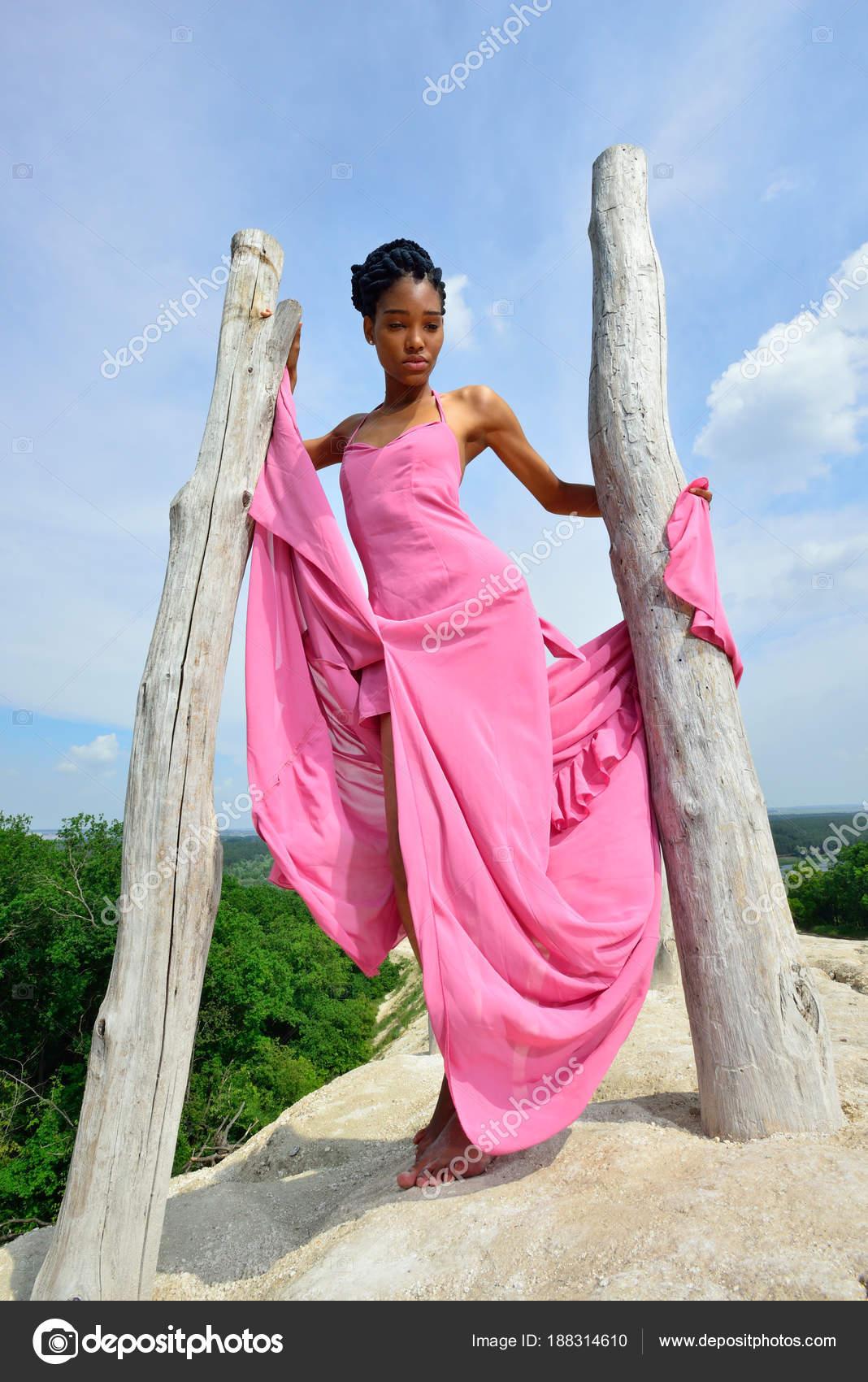 African American Chica Con Rastas Con Vestido Rosa Posando Sobre ...