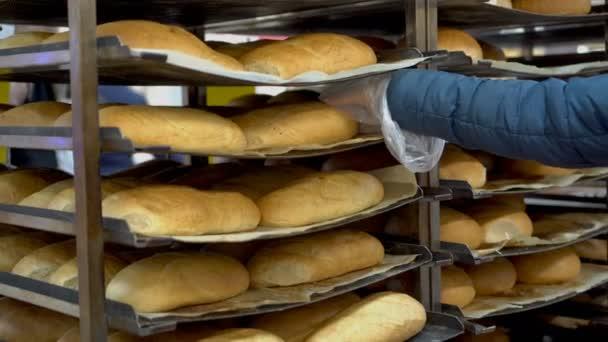 Egy nő a boltban a kenyeret választja. Levesz egy cipót a polcról, és berakja egy celofán zsákba. Vásárolni a szupermarketben. Arctalan. Fogantatás. Közelkép. 4k.