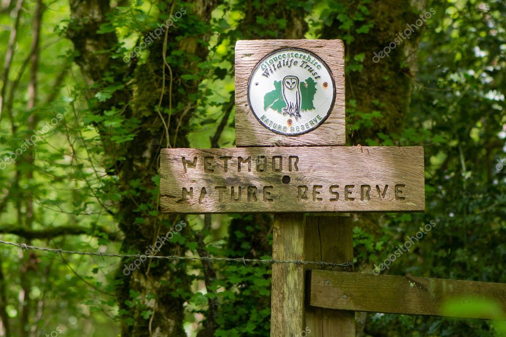Wetmoor Nature Reserve sign and Gloucestershire Wildlife Trust lnformation board