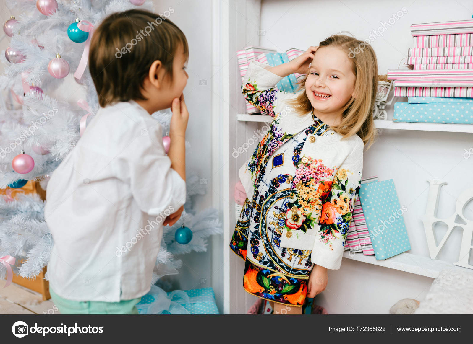 ef252c33ac99 Lovely funny kids pair in love. Children hugging. Handsome boy ...