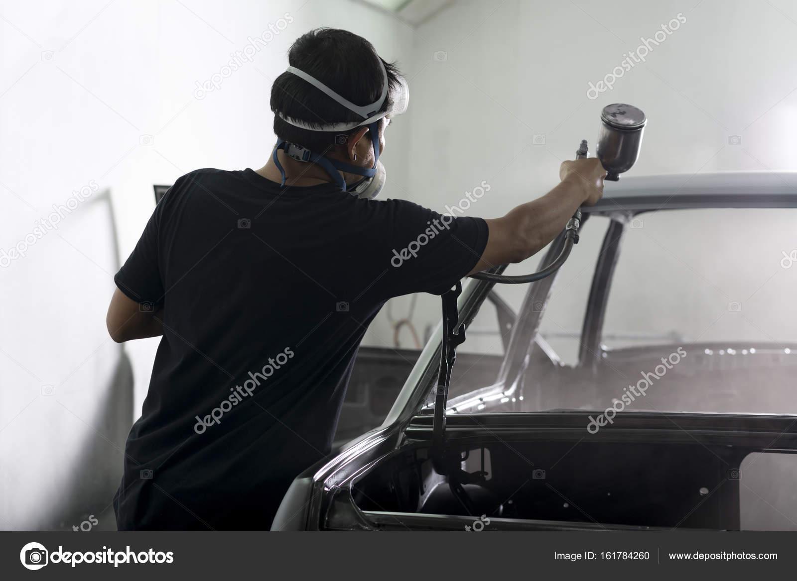 Auto lichaam reparatie serie: interieur schilderij — Stockfoto ...