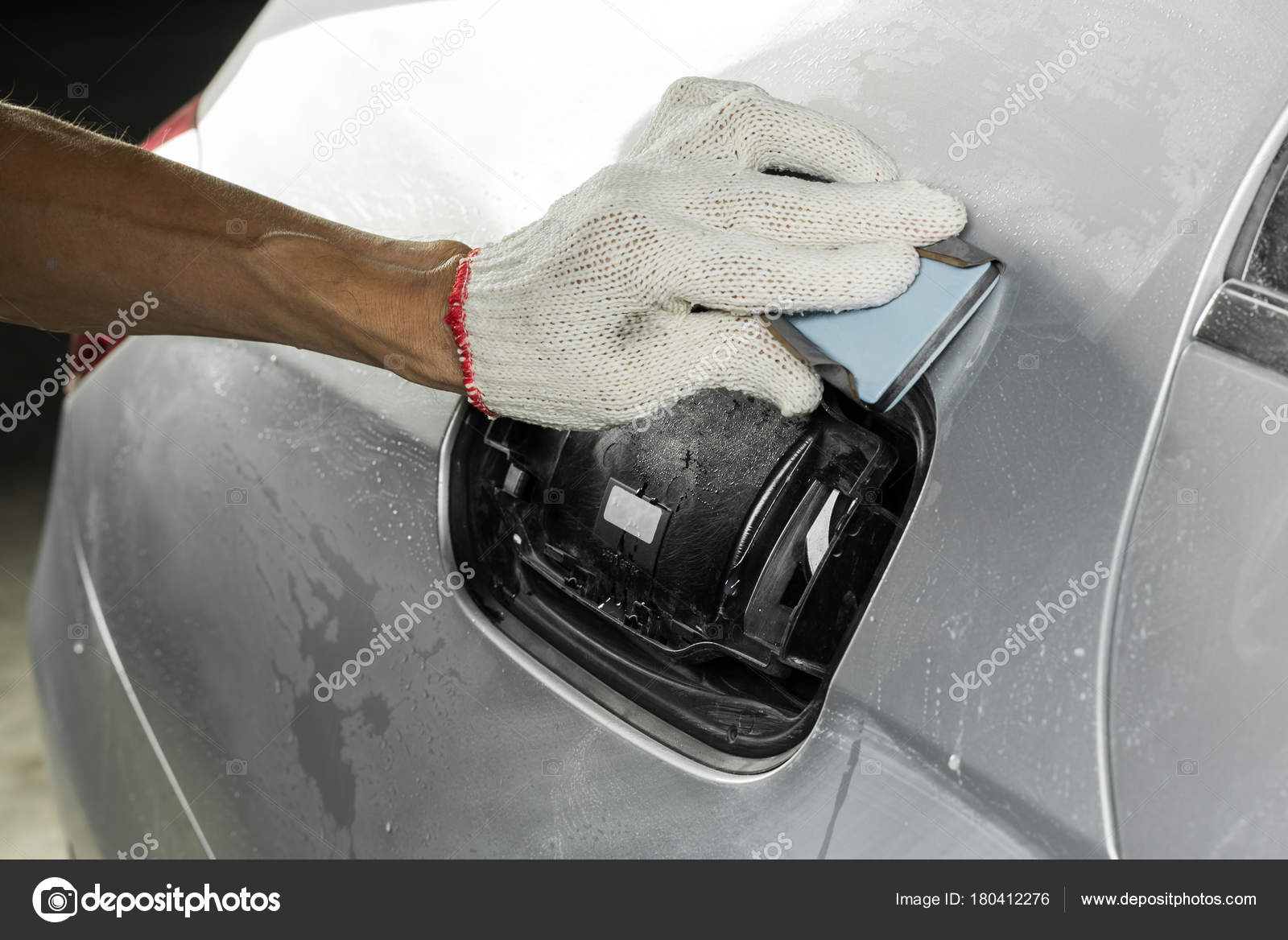 Auto Body Repair Series Wet Sanding Car Paint Stock Photo