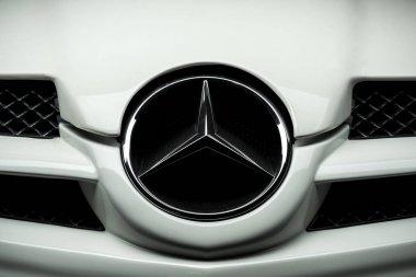 BANGKOK, THAILAND  NOVEMBER, 18 2017: Closeup of Mercedes Benz logo on white Mercedes Benz SLK R171