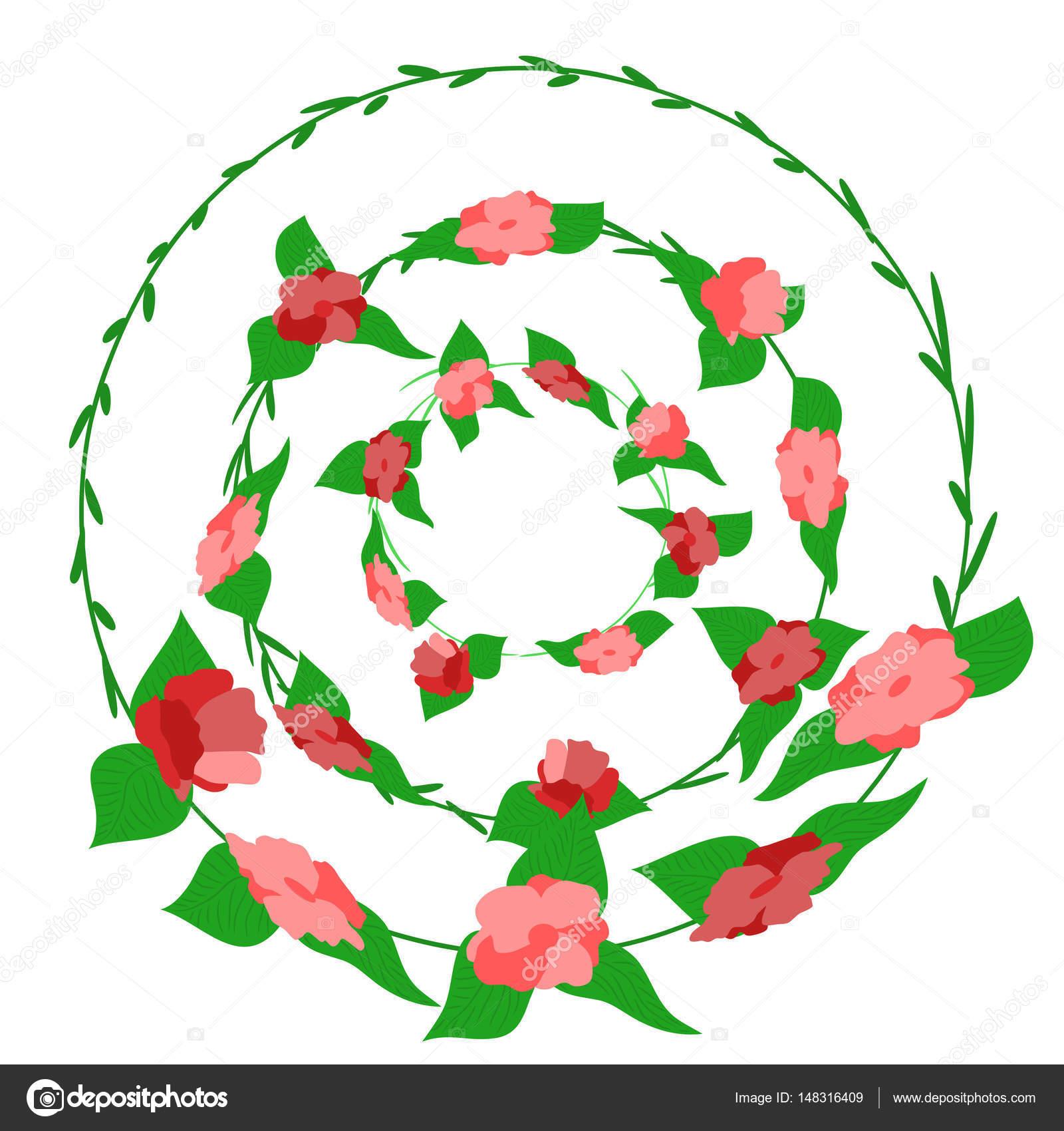 Trois Printemps Fleur Cercle Couronne Set Vector Illustration