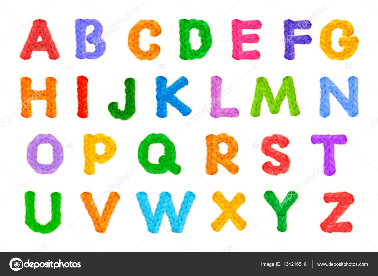 Alphabet häkeln auf Silvester, Urlaub, isoliert, weißer Hintergrund ...
