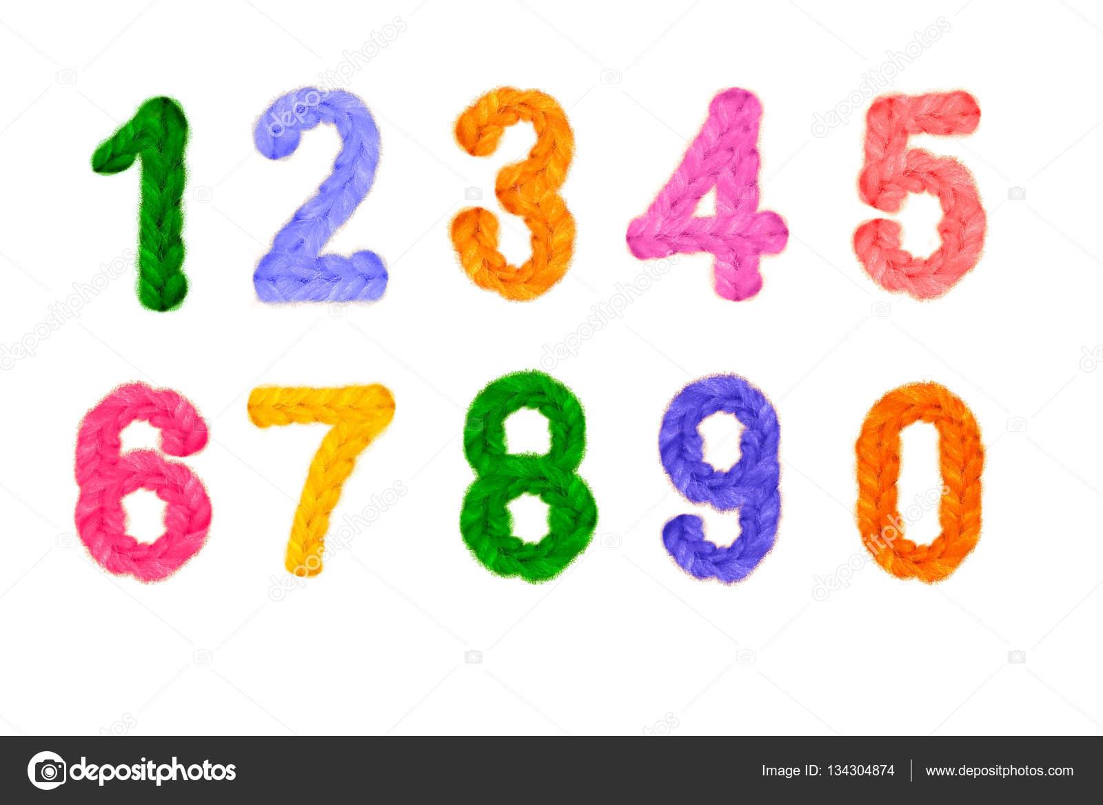 Ganchillo de colores números y números en el año nuevo, vacaciones ...