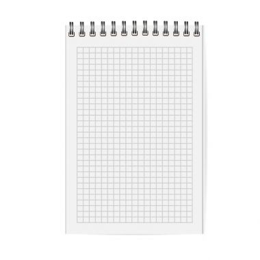 Blank copybook with metallic spiral. Template, mock up of organizer or diary isolated. Cell notebook