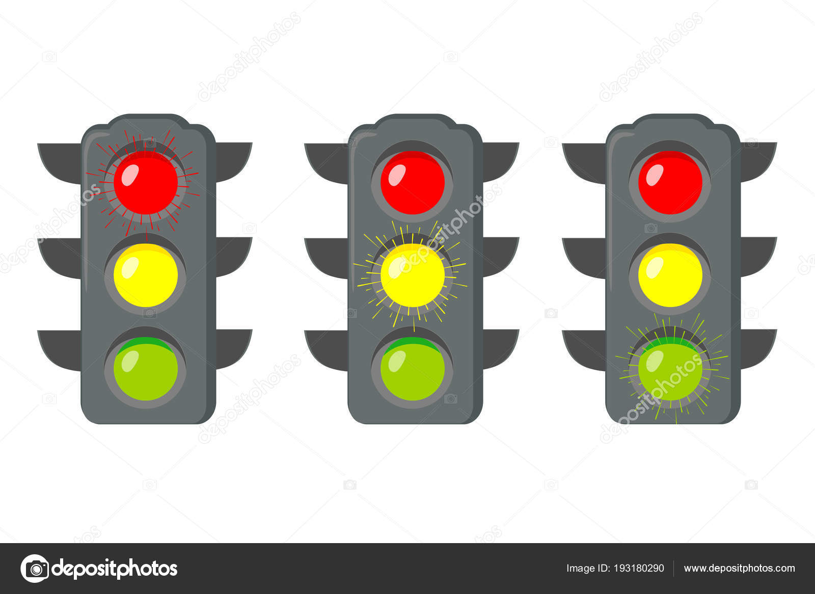 Icon cartoon traffic light. Signals with red light above yellow and ... for Traffic Light Red Icon  75tgx