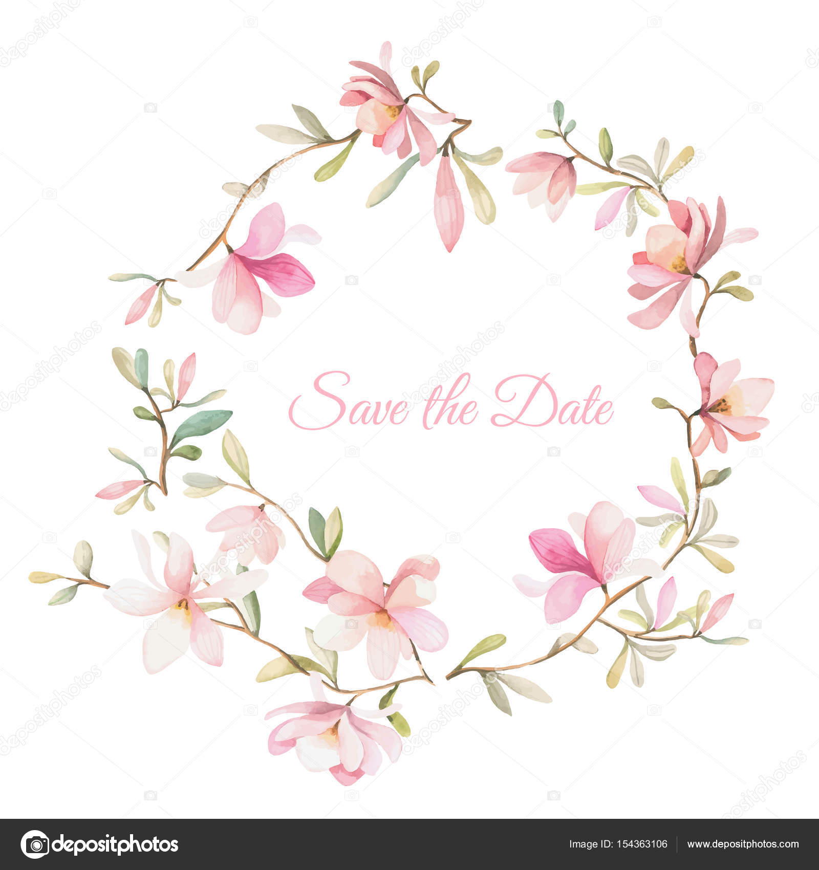 Wreath Of Flowers In Watercolor Style On White Background Stock