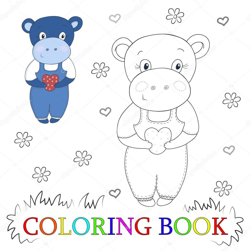 """Hippo mignon dessin animé avec illustration vectorielle de cÅ""""ur Couleur et le contour cahier de coloriage — Image"""