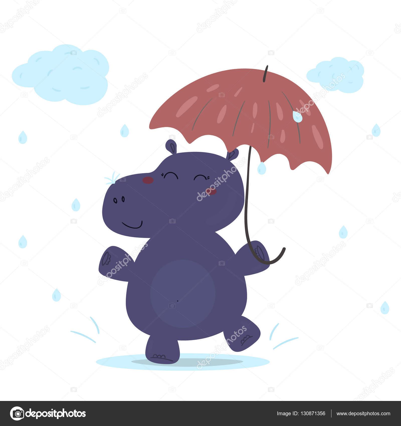 fröhliches Nilpferd im Regen mit einem Regenschirm. Druckfähige ...