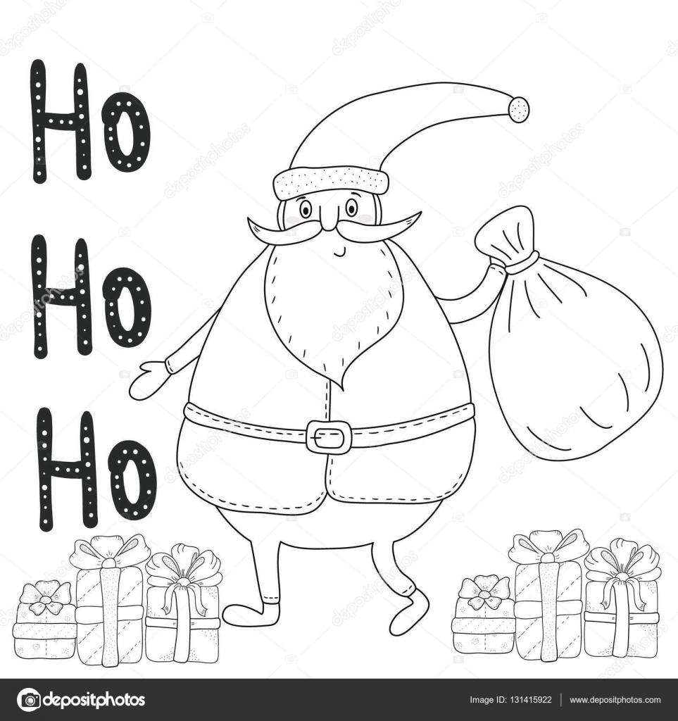 Página para colorear con Santa Claus, cajas de regalo de Navidad ...
