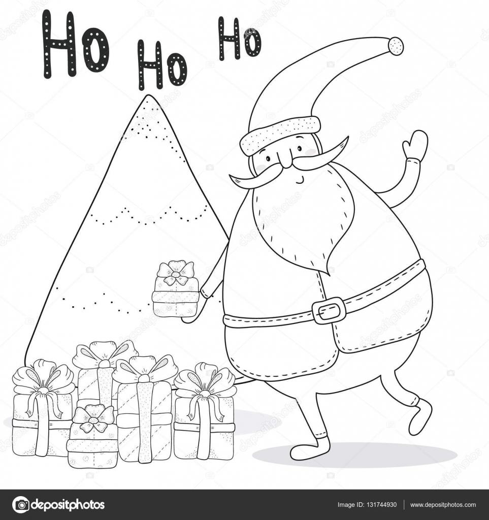 Kleurplaten Kerstman Met Kerstboom.Kerst Kleurplaat Pagina Met Kerstman Kerstboom Geschenkdozen