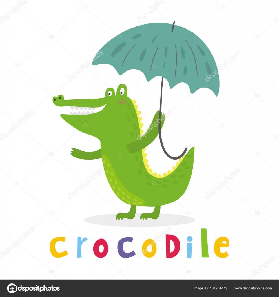 fröhliche Krokodil mit einem Regenschirm. Druckfähige Vorlagen ...