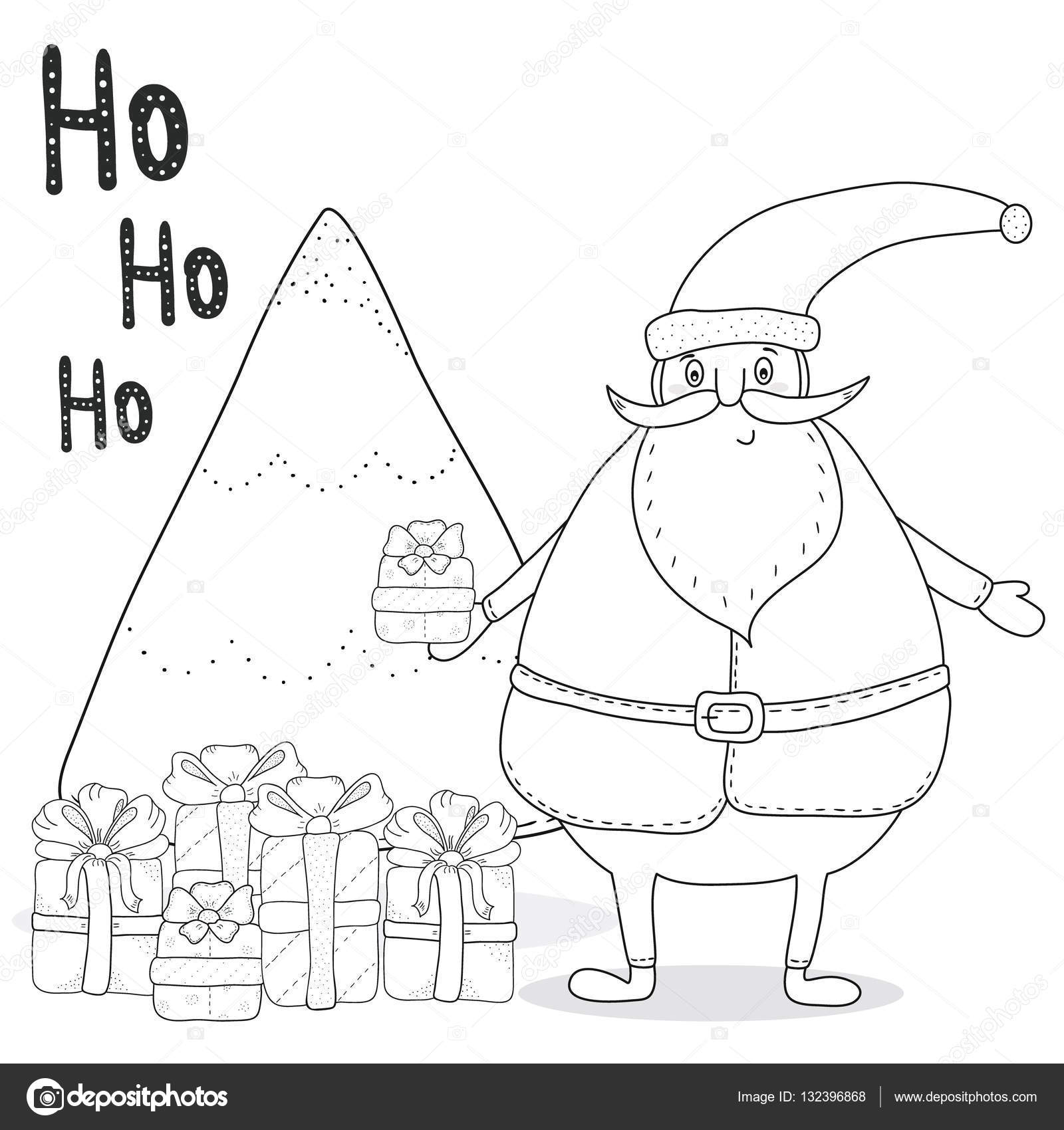 christmas coloring page with santa claus christmas tree gift boxes vector by iboiko08gmailcom