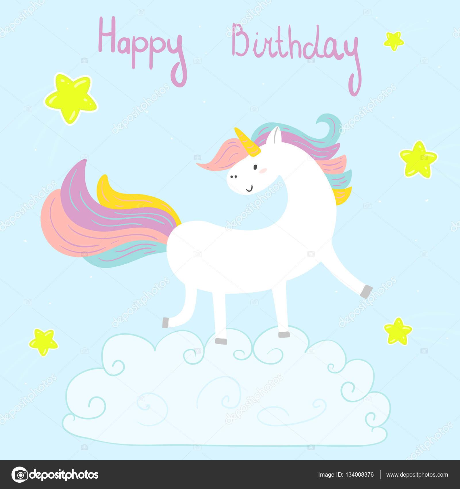 Genoeg Schattig unicorn afdrukken voor kinderen. Gelukkige verjaardag  #SN08