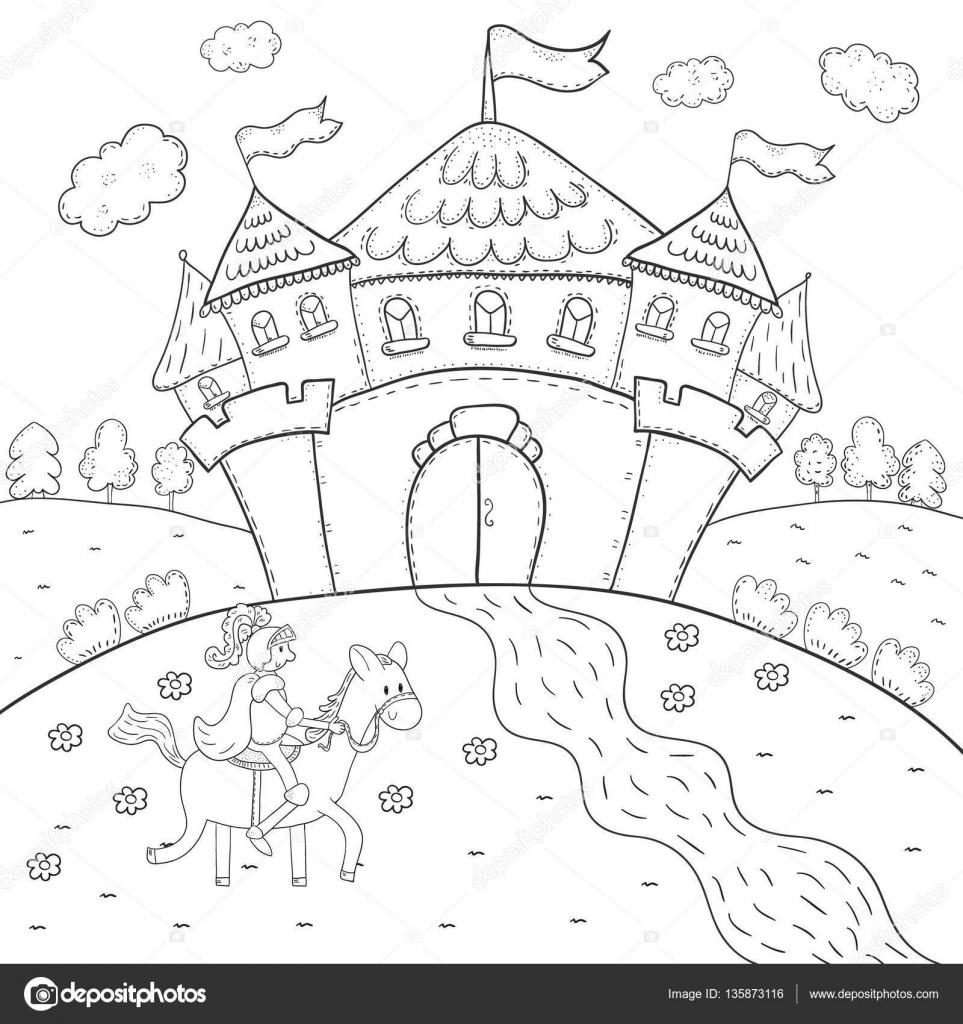 Caballero en caballo y el castillo mágico diseño de libro de ...