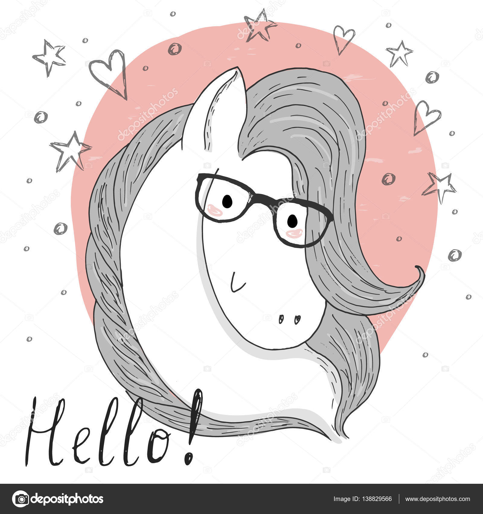 Cute Horse And Glasses Sketch Doodle Vector Illustration Stock Vector C I Boiko08 Gmail Com 138829566