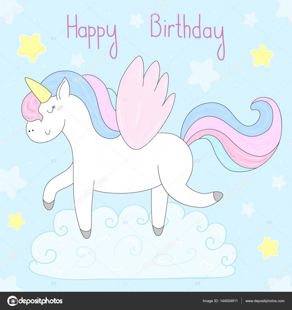 Fabulous Schattig unicorn afdrukken voor kinderen. Gelukkige verjaardag  #MD04