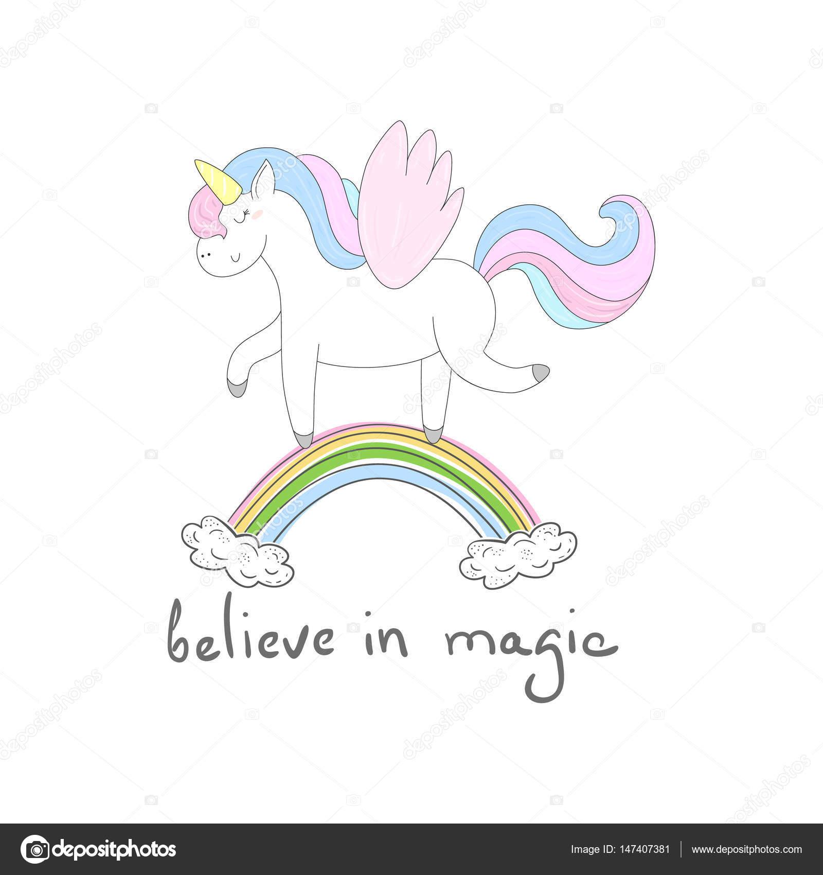 子供のプリントのかわいいユニコーン魔法のカードを信じる ストック