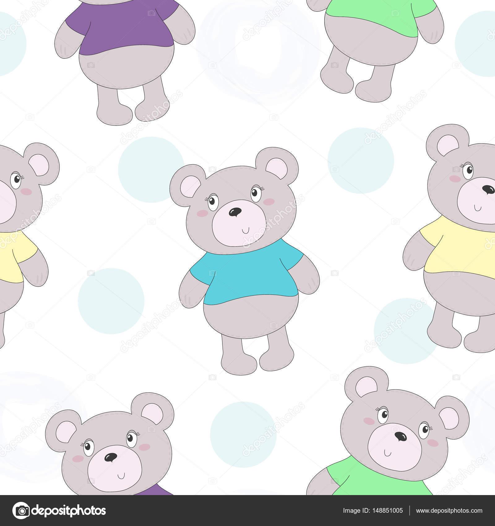 Lindo de patrones sin fisuras con oso de peluche divertido ...