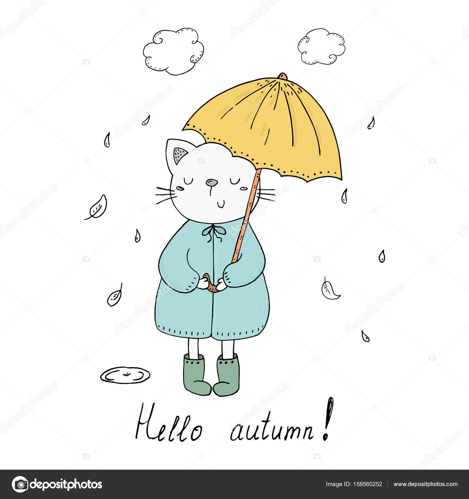 Hola tarjeta de otoño. gatito bajo la lluvia con un vector de ...