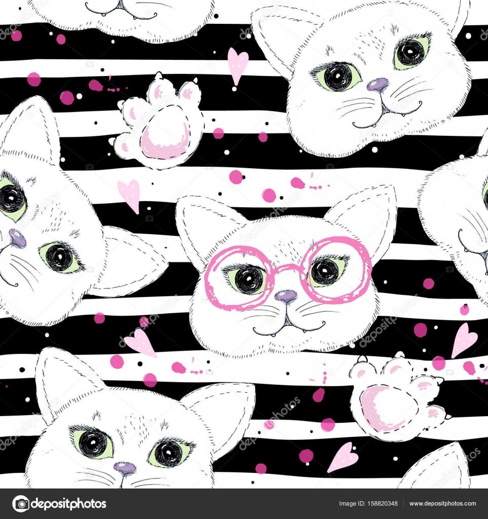 De fundo gatos bonitos sem emenda — Vetores de Stock © i.boiko08 ...