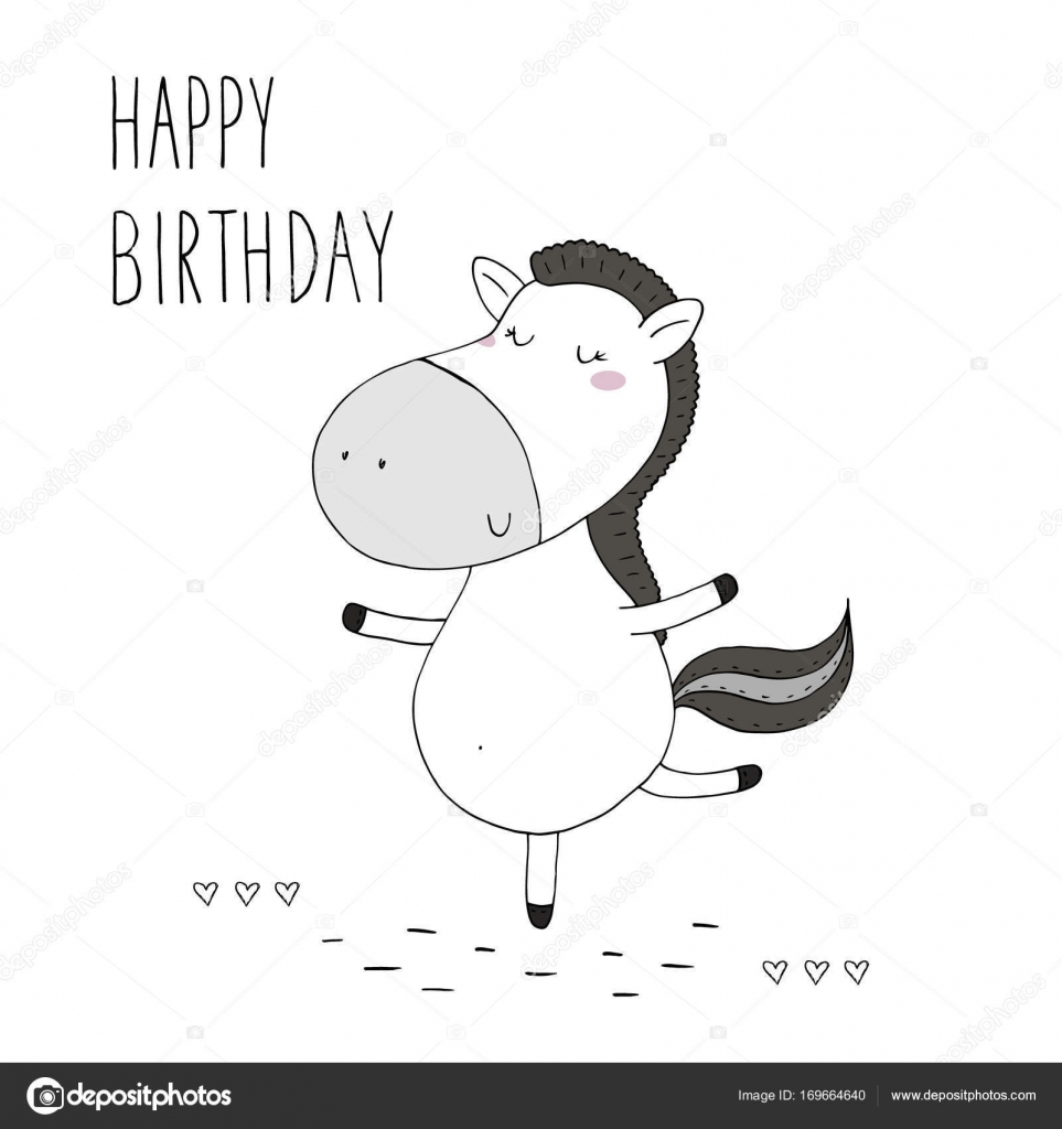 Images Funny Happy Birthday Horse Happy Birthday Card With Cute Hand Drawn Funny Horse Vector Print Stock Vector C I Boiko08 Gmail Com 169664640