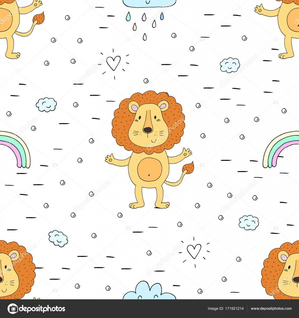 Lindo León patrón de impresión para niños — Vector de stock © i ...
