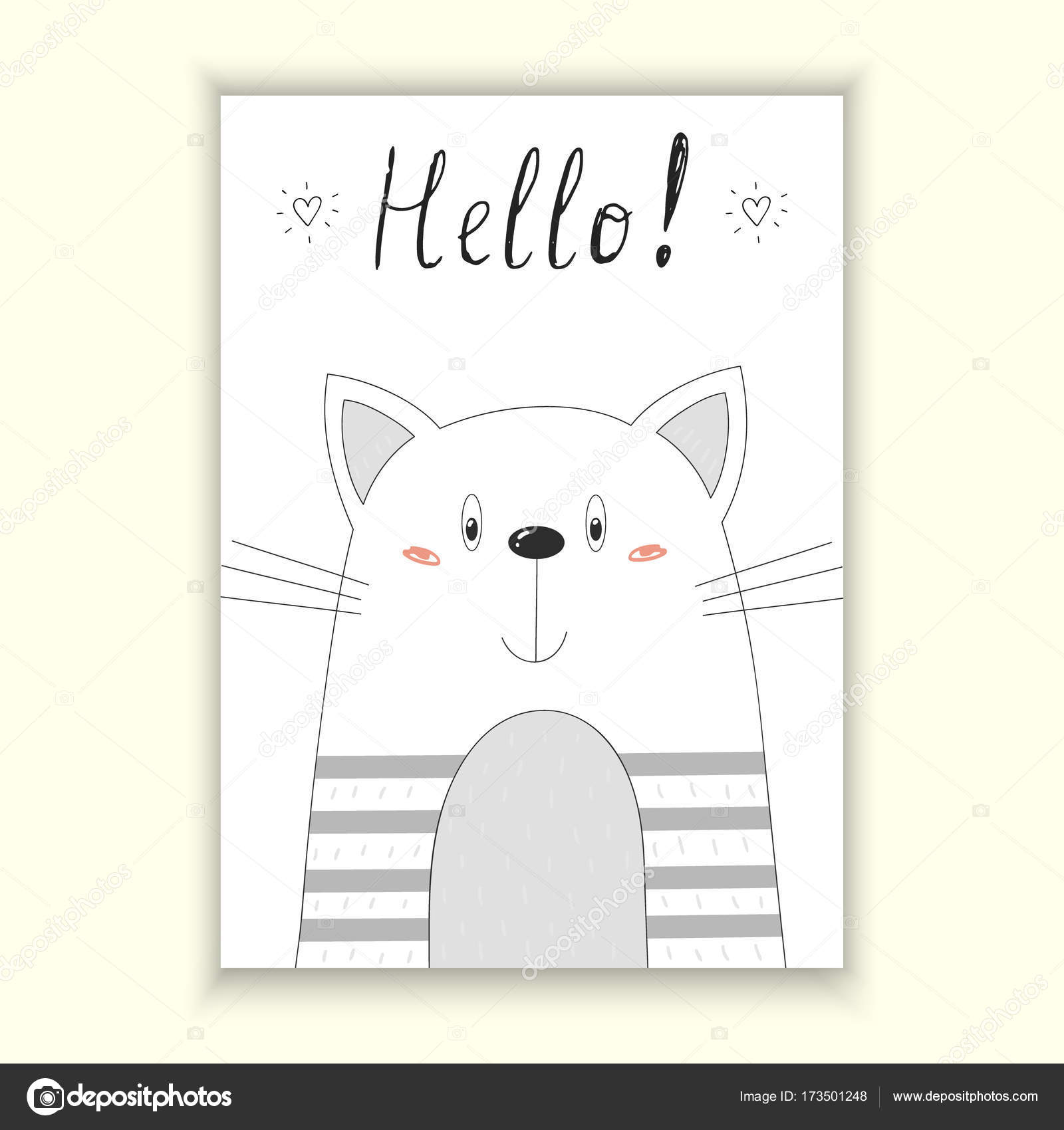 graphic regarding Cat Birthday Card Printable titled Printable humorous cat birthday playing cards Howdy card. Hand Drawn