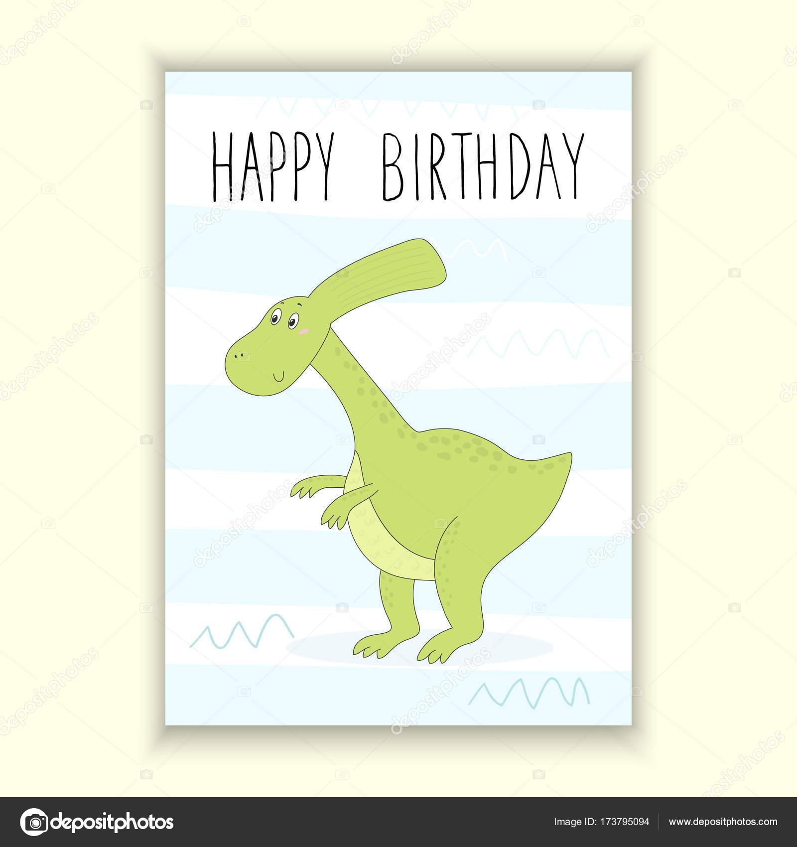 Happy Birthday Card Design Cute Hand Drawn Card With Dinosaur