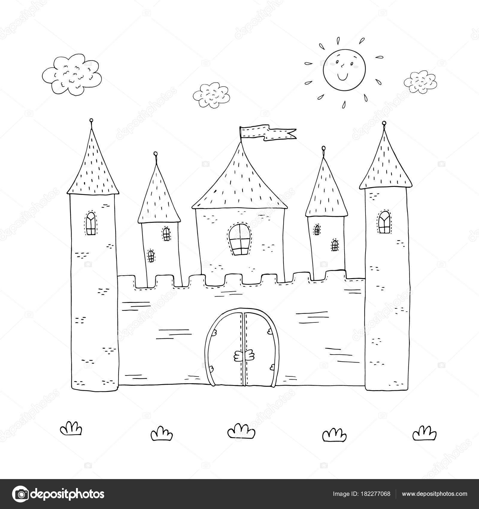 çocuklar Için Boyama Kitabı Sihirli Kale Tasarım Stok Vektör I