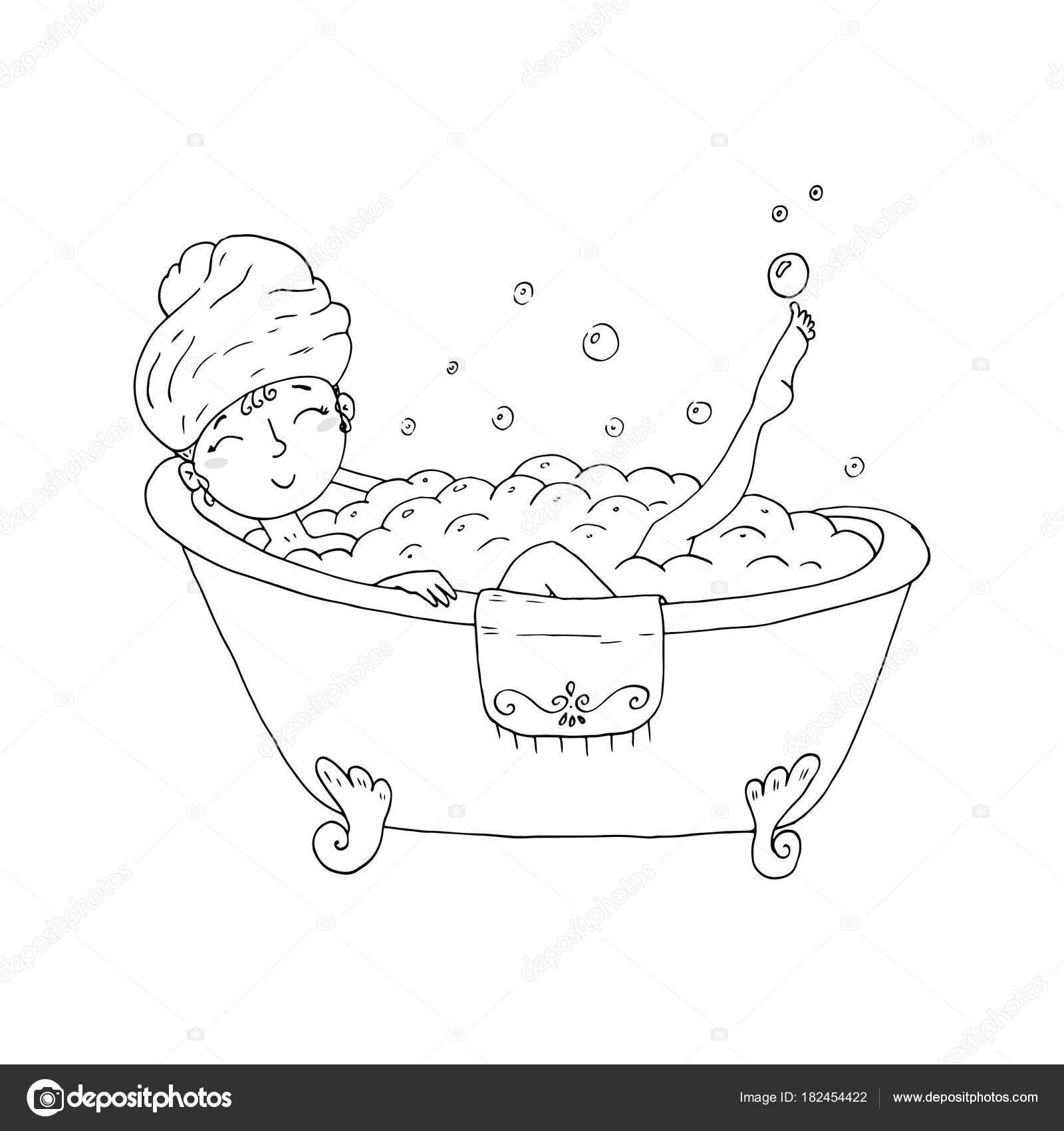 El çekilmiş Sayfa Boyama Kitabı Ile Genç Güzel Kadın Alarak Banyo