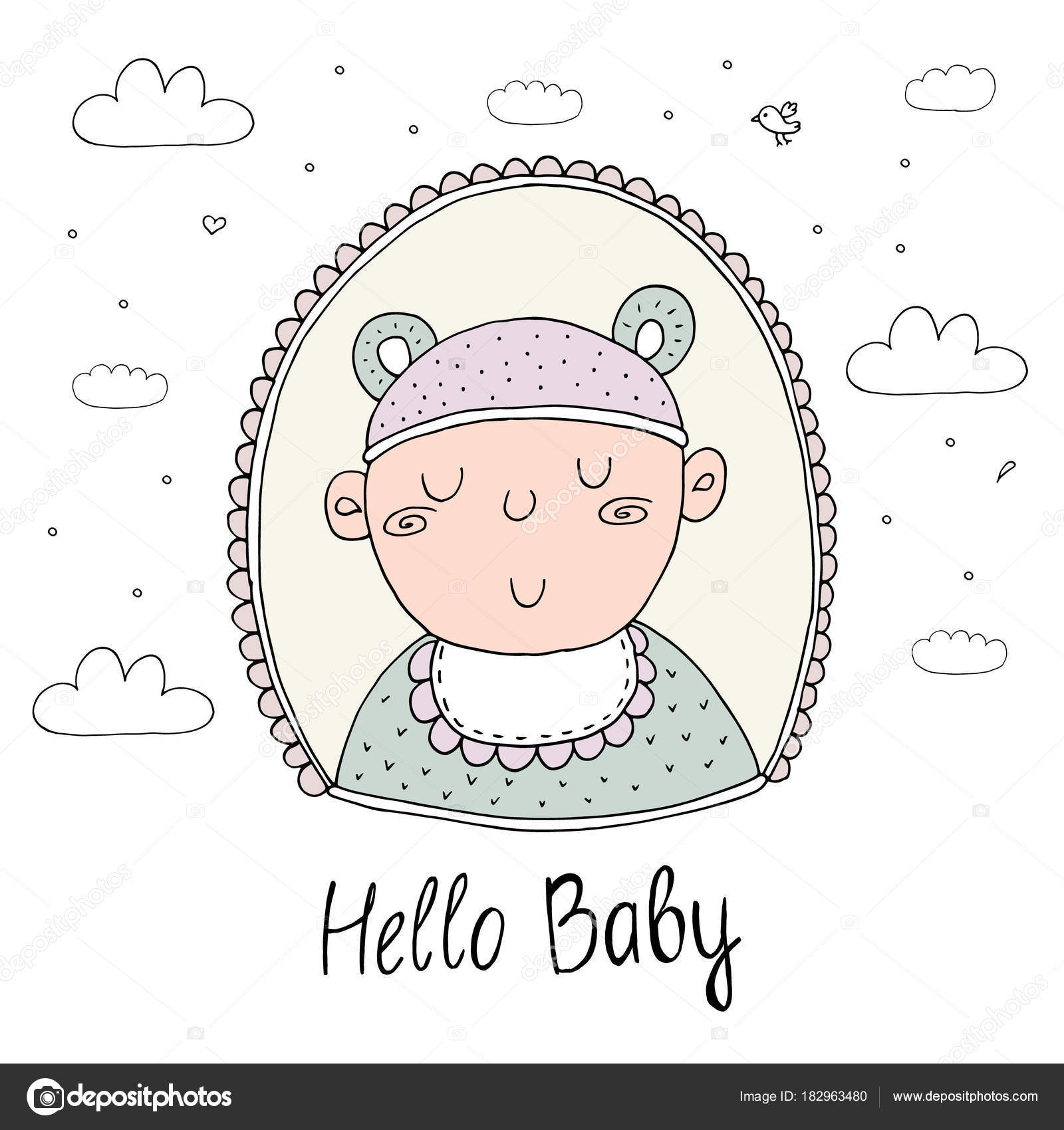 Dibujos Tarjetas Para Bebes De 6 Meses Lindo Mano Dibujada