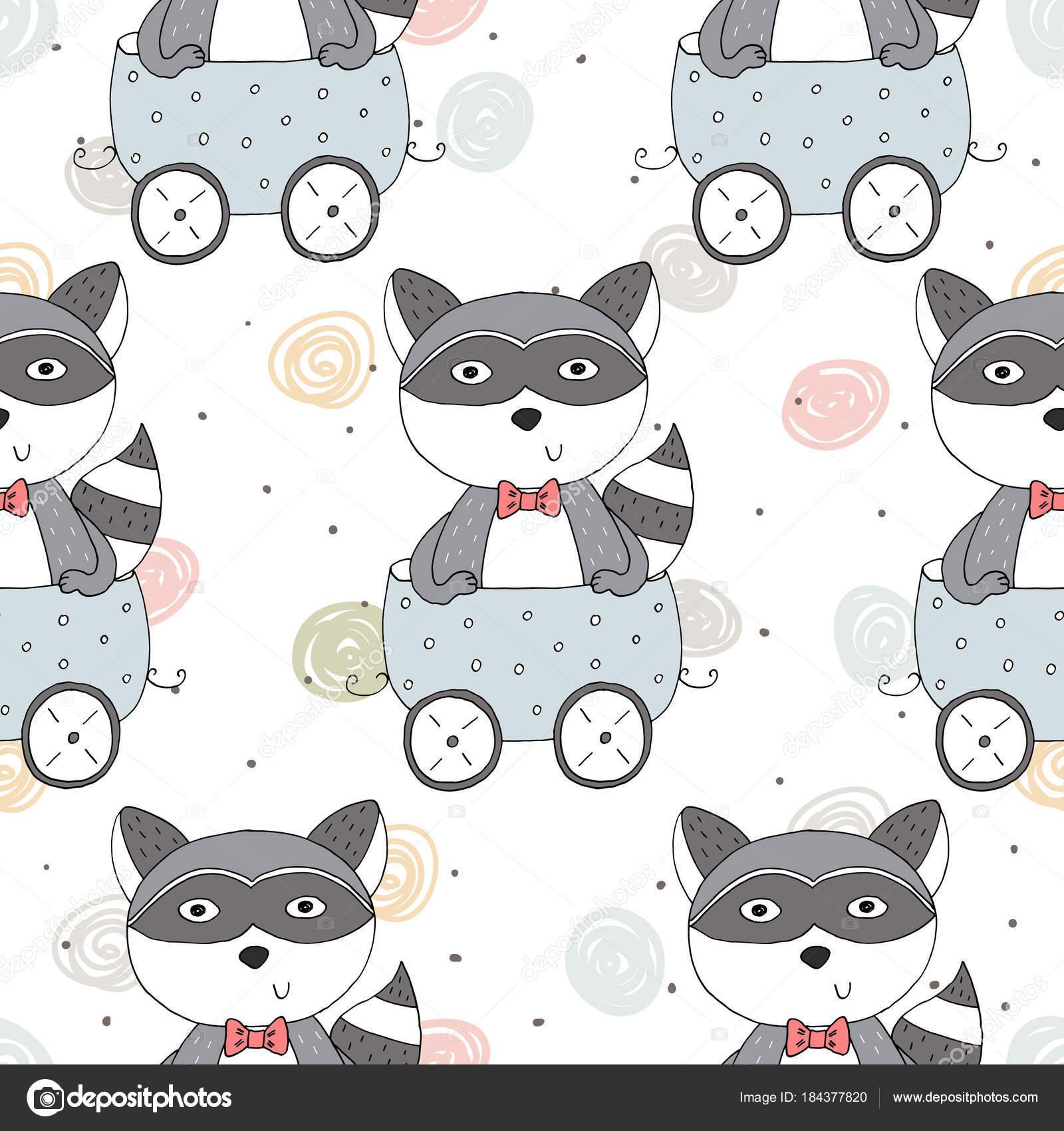 Mano dibujada de patrones sin fisuras con lindo mapache en el ...