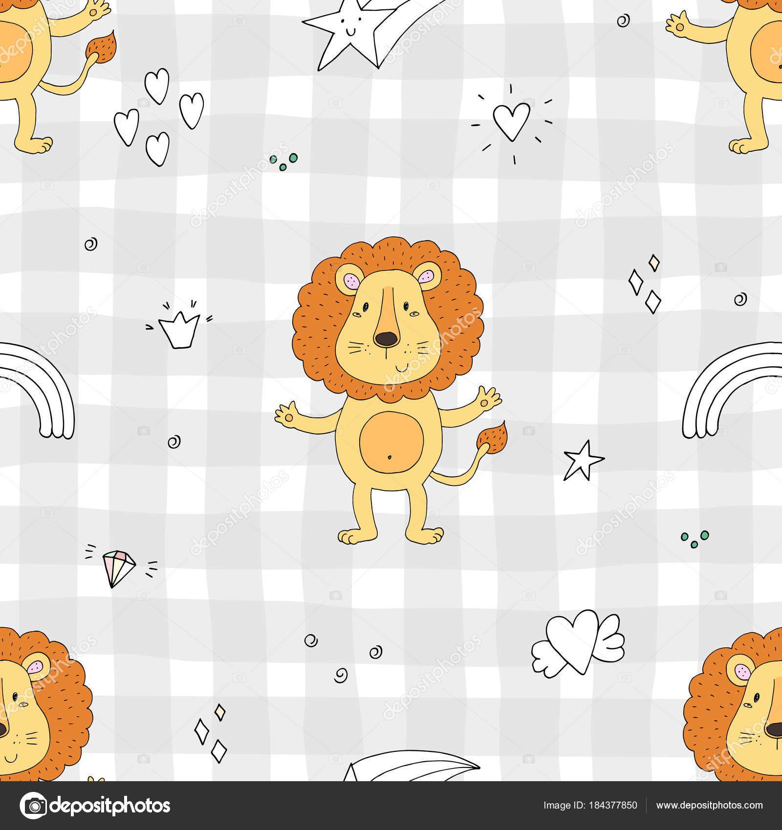 Lindo León patrón de impresión para niños — Archivo Imágenes ...