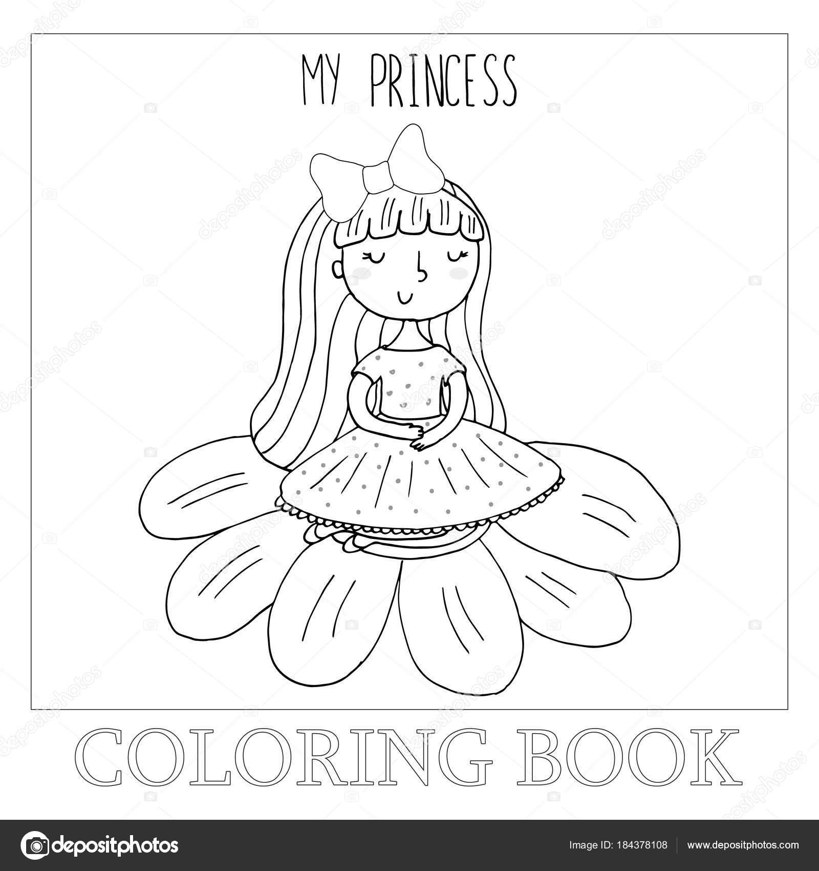 Boyama Kitabı Ile şirin Küçük Balerin Vektör çizim Için Elle