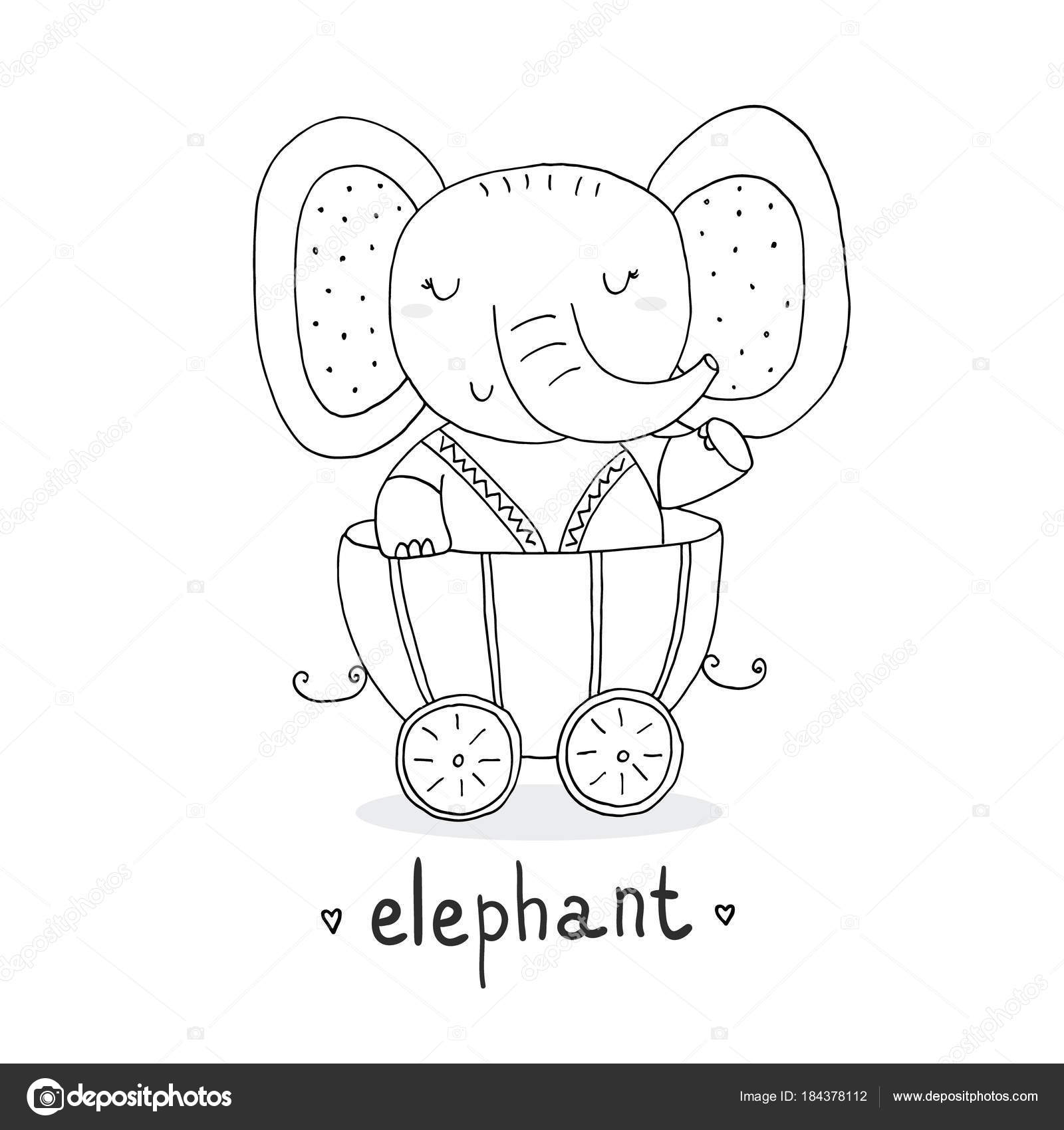 Hand Drawn Page For Coloring Book With Cute Elephant In The