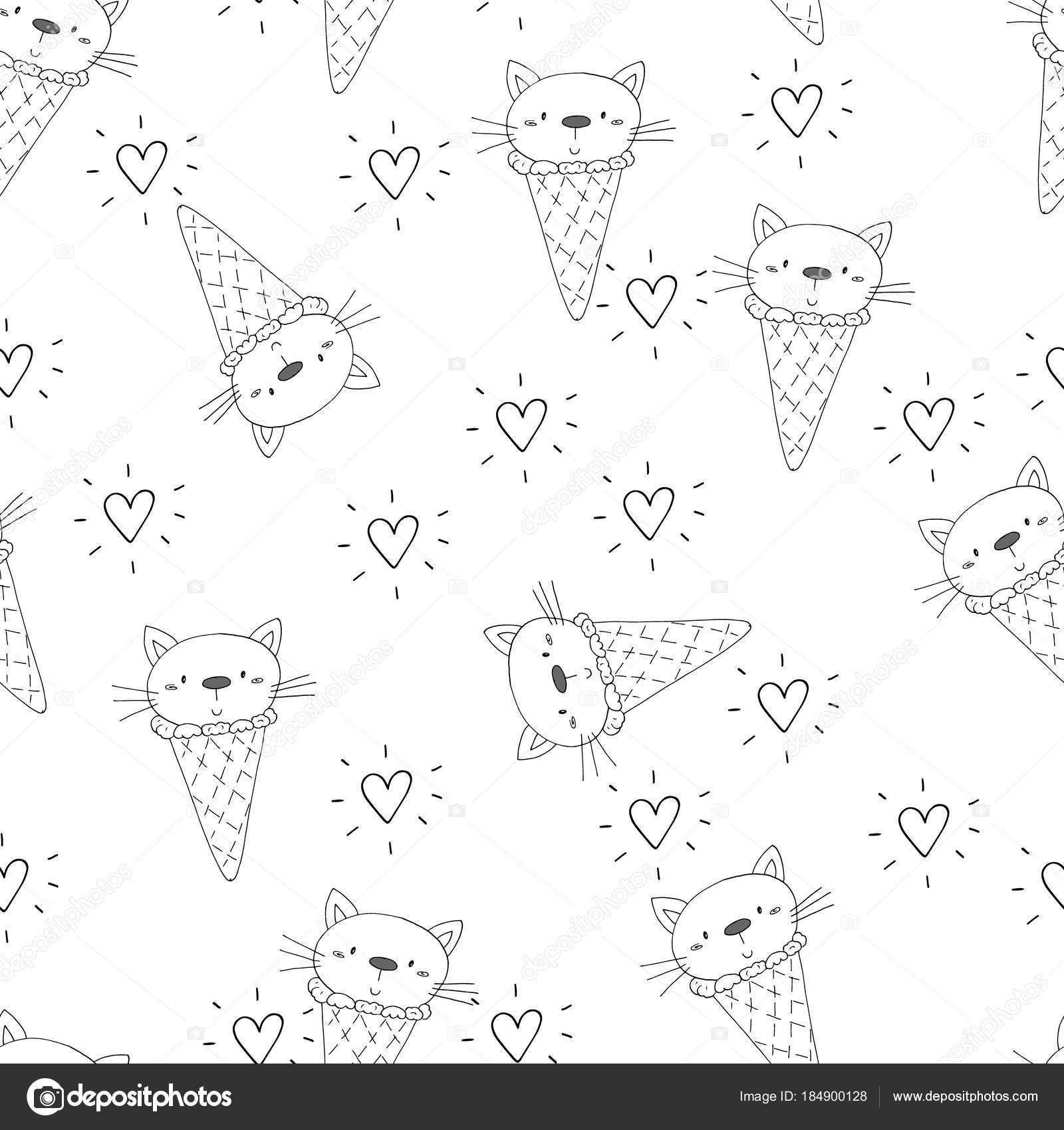Mano dibujada de patrones sin fisuras con lindo gato, doodle ...