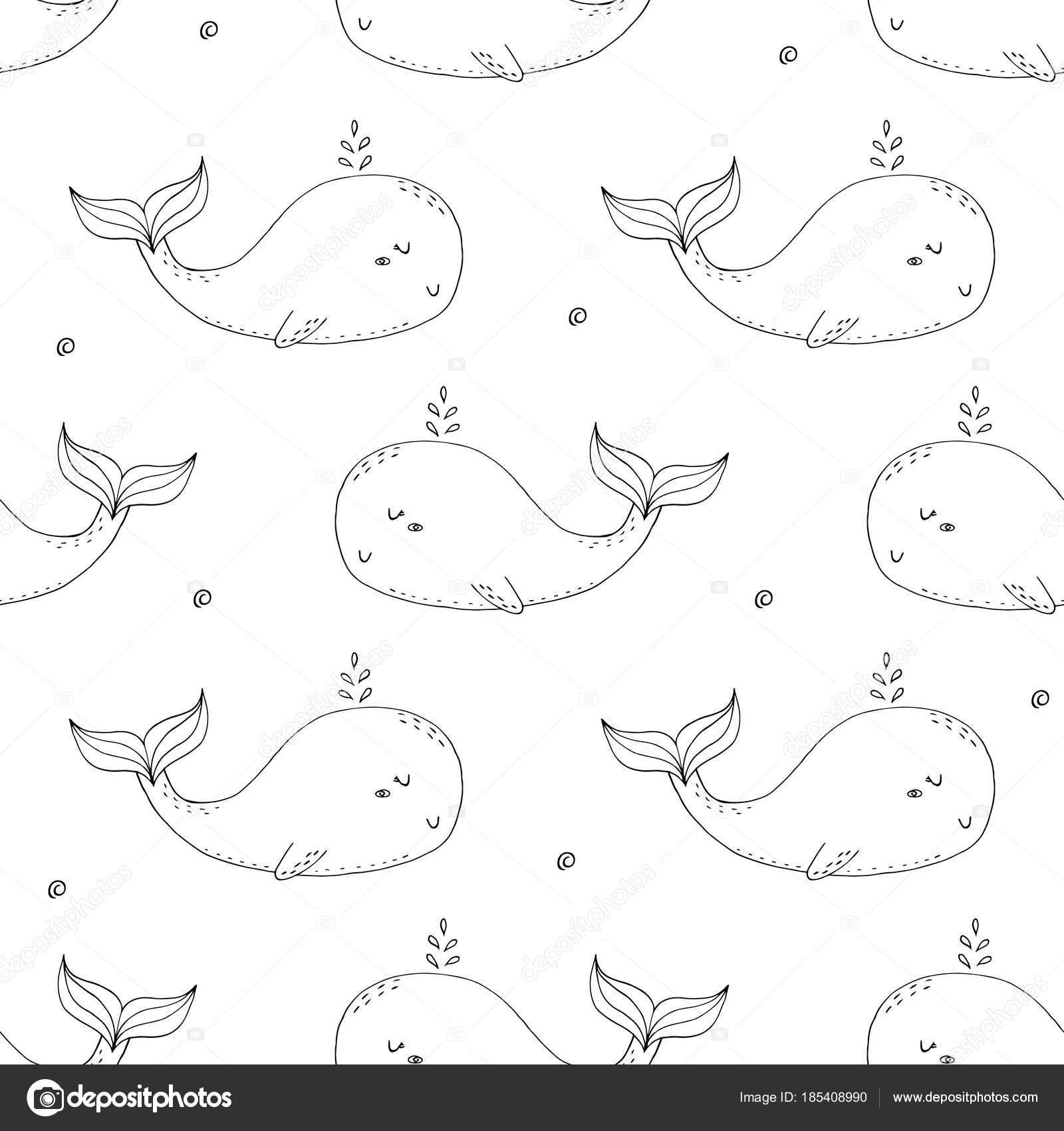 Lindo fondo con dibujos animados ballenas. Diseño de ducha del bebé ...