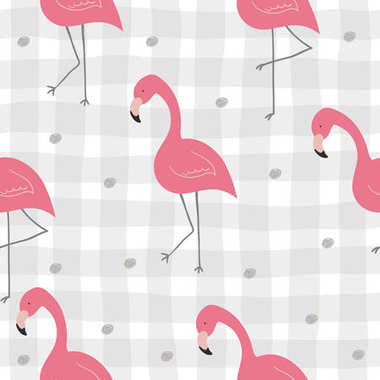 Cute hand drawn seamless pattern with pink flamingo. Vector print