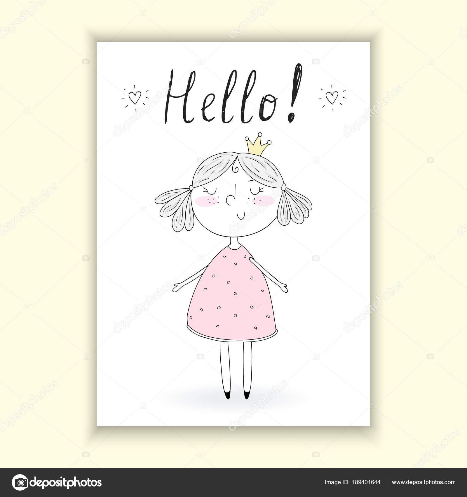 hand drawn cute little girl doodle nursery illustration printable template