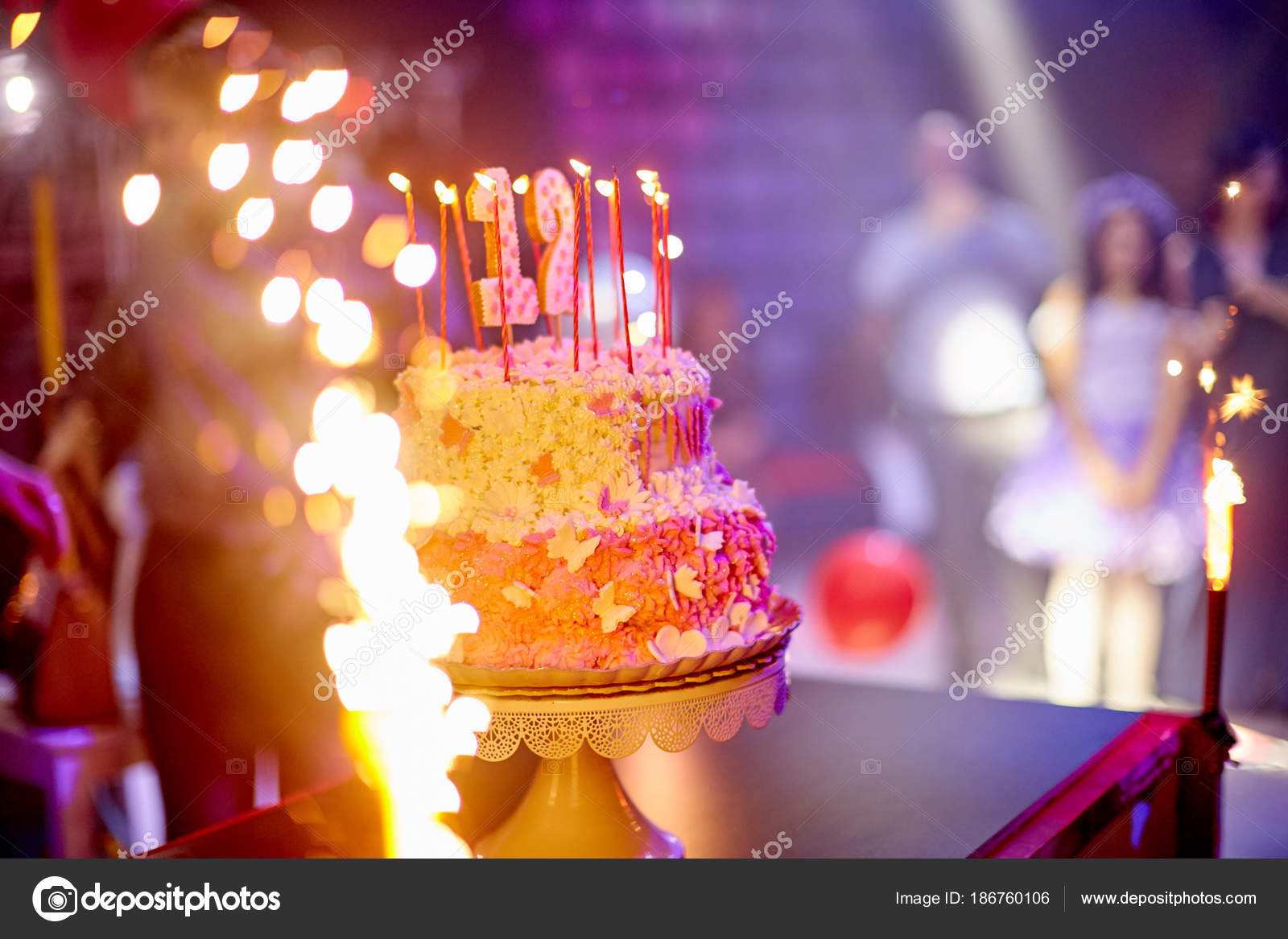 Fine Birthday Cake Fireworks Birthday Celebration Stock Photo Funny Birthday Cards Online Alyptdamsfinfo